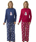 Womens Fleece Top Pyjama Set Polar Bear Ladies Winter Pyjamas Warm New 10-16