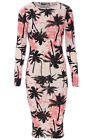 WOMENS TROPICAL PALM TREE PRINT MIDI DRESS CELEB INSPIRED BLACK PINK WHITE 8-16