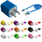 Noodle Flat Sync Usb Data Cable Cord 3ft+wall Travel Home Ac Charger For Iphone