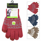 Ladies Stretch Touch Screen Gloves Fairisle Style Pattern Navy Wine Or Khaki