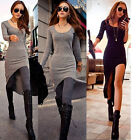 New Trendy Celebrity Irregular Long Maxi Dress Long Sleeve Casual Long T Shirts