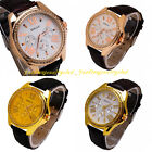 Classic Casual Stainless Steel Leather Rhinestone Digital Dial Sport Wrist Watch