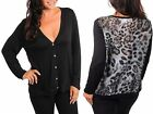 Women PLUS 2X,3X,4X, 20/22,24/26 Animal Print Chiffon Back BLACK Cardigan Top