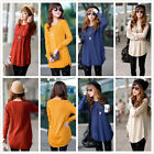Womens Round Neck Long Sleeve Knitted Pullover Jumper Loose Sweater Knitwear Top