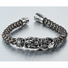 Silver bikies chain stainless steel skull crown snake bracelet chocolate silicon