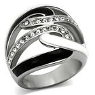 Womens New Black And White Stainless Steel Mini Crystal Freeform Ring  Size 5-10