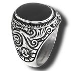 New Men's Large Stainless Steel Oval Black Onyx Ring - Sizes 8-15