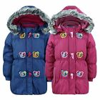 GIRLS QUILTED JACKET PADDED WINTER COAT FUR TRIM DETACH HOOD FLEECE LINED 2-9Y