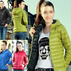 Ladies Women Winter Outerwear Hooded Casual Solid Slim Down Jacket Coat Overcoat