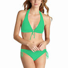 Ladies Padded Halter Triangle Bikini Top Bottom Swimwear Swimsuit Green