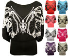 New Ladies Batwing Butterfly Glitter Print Scoop Neck Womens Stretch Top 8 - 14