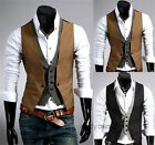 Top Design Mens Vintage Waistcoat Two False Vest Checkered Stitching Jacket Coat