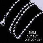 "HOTSALE WHOLESALE FASHION SILVER JEWELRY 3MM 16��-24"" BEAD CHAINS NECKLACE 06j0"