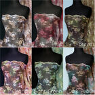 Flounce tie dye floral design light weight non stretch lace fabric Q334