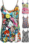New Womens Print Strappy Sleeveless Vest Cami Ladies Stretch Swing Top 8 - 14