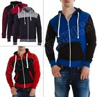 New Mens Fleece Hoodie Quilted Hooded Zip Up Jacket Coat Top Size S M L XL XXL
