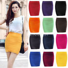 Women Cany Color Bandage Stretch Ribbed Panel A-Line Seamless Skirt Slim Bodycon