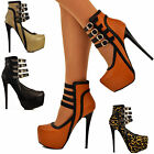 Ladies Multiple Ankle Straps Platform Contrast Trim High Heels Pumps Shoes Size