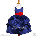 NAVY/CHRISTMAS RED HOLIDAY PICK UP FLOWER GIRL DRESS 6M 12M 18M 2 3/4 6 8 10 12