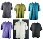 Cotton Unisex Casual Indian Shirt Hippy Boho Kurta/Nehru Collar Short Sleeves