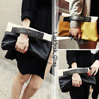 Women Color Block Contrast PU Faux Leather Black Tab Front Zip Folded Clutch Bag