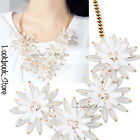 Women White Cluster 3D Crystal Flowers Pendant Gold Chain Statement Bib Necklace