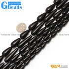 "Teardrop Black Agate Onyx Gemstone Loose Beads Strands 15"" for Crafts Making"