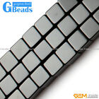 "Square Cube Black Agate Onyx Gemstone Loose Beads Strand 15"" for Jewelery Making"