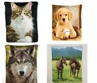 "FLEECE SOFT WARM LARGE 58X48"" THROW BLANKET CAT BASEBALL DOG WOLF HORSE"