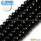 "Rondelle Natural Black Agate Facted Gem Onyx Loose Beads 15"" Size 8x12mm 10x14mm"