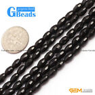 "Olivary Natural Faceted Black Agate Onyx Loose Beads Strands 15"" Jewelry Making"