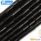 Natural Black Agate Gemstone Faceted Column Tube Beads For Jewelry Making 15""