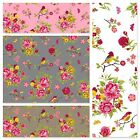 BIRD & BUTTERFLY GARDEN - FLORAL 100% COTTON FABRIC by the metre EX WIDE