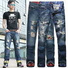 FASHION Men Ripped Jeans Casual Slim Fit Long Jeans Straight Jean Pants Trousers