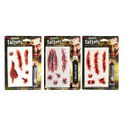 Zombie Tattoos With Bloody Scab Theater Blood Fancy Dress Makeup FX Accessory