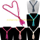 Fashion 5 Layers Multicolors Resin Seed Bead Crystal DIY Long Chain Bib Necklace