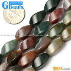 Natural Gemstone Moss/Indian Agate Twist Drum Beads For Jewelry Making  8x16mm