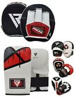 RDX Curved Focus Pads Mitts With Boxing Gloves Hook and Jab Punch Bag Kick MMA A