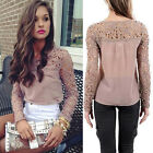 Cheap sale Womens Long Sleeve Lace Chiffion Loose Slim Tops Blouse T-Shirt Shirt