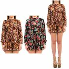 Hidden Fashion Womens Ladies Floral Flower Print Faux Velvet Playsuit/Romper