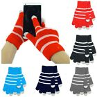 New Unisex Knit Strip Touch Screen Smartphone Tablet Full Finger Mittens Gloves