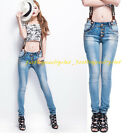 Women's Stylish Classic Jean Regular Designed Denim Overalls Trousers Pants Blue