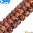 "Round Tibetan Agate Gemstone Mystical Eye Beads Strands 15"" 8-12mm Crafts Making"