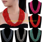Fashion 36 Layers Multicolor Chain Resin Seed Beads Chunky Choker Bib Necklace