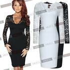 Womens Sexy  Long Sleeve Black White Lace Cocktail Evening Party Bodycon Dresses