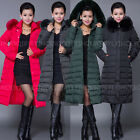Lady Winter Plus Size Duck Down Coat Hooded Warm Fur Parka Long Jacket Outerwear