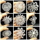 Wholesale Big Sliver Rhinestone Crystal Brooches Pin DIY Wedding Bridal Bouquet