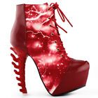 Cool Thunder & Lightning Print Lace-Up Bone Heel Ankle Boots Sz 4/5/6/7/8/9/9.5