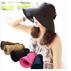 SUMMER STRAW SUN VISOR WIDE BRIM BEACH HAT CAP 4 COLORS NEW