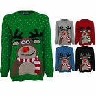 Women's Novelty Festive XMAS Christmas Ladies 3D Reindeer Polka Dot Jumper
